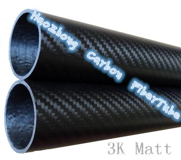 3K Roll Wrapped 100% Pure Carbon Fiber Tube 50mm*44mm*500mm 3mm thickness 3K Matt Finish  50*44 1pcs carbon tube black 50 52 4mm 3k glossy 500mm long100