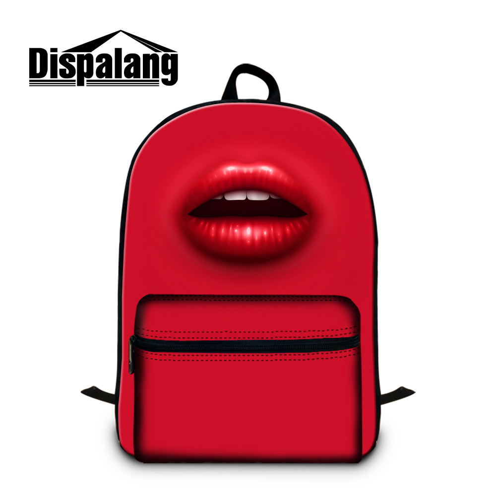 Dispalang womens shoulder travel backpacks sexy red lips print college student laptop backpack cotton lightweight back pack