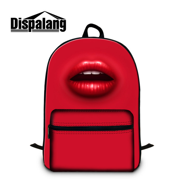 Dispalang women s shoulder travel backpacks sexy red lips print college  student laptop backpack cotton lightweight back pack 68008eb039