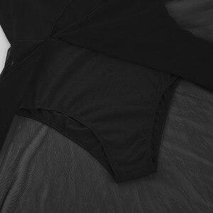 Image 5 - IEFiEL Женская одежда для взрослых на тонких бретельках, сетчатая макси Одежда для танцев со встроенной гимнастикой трико балерины, платья для бальных танцев
