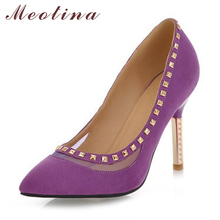 Meotina Discount Sexy Ladies Pumps Spring Pointed Toe Flock Party Wedding Thin High Heels Female Sequined Purple Shoes