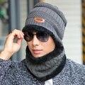 Lã quente forro de lã cachecol & malha chapéus de inverno para homens, ao ar livre esporte neck warmer cachecóis & beanie gorro tampas de capô lenços
