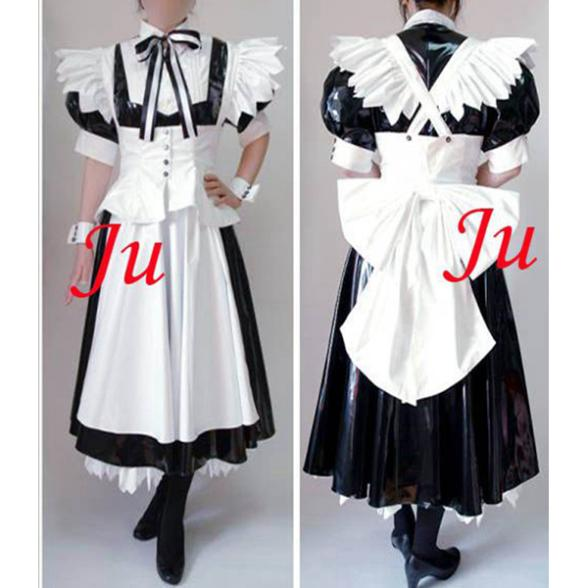 Sexy Sissy Maid Pvc Lockable Dress Uniform Cosplay Costume Tailor made[CK904]