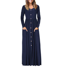 Autumn Women Button Maxi Dress Ladies Long Sleeve Vintage Casual Party With Pocket