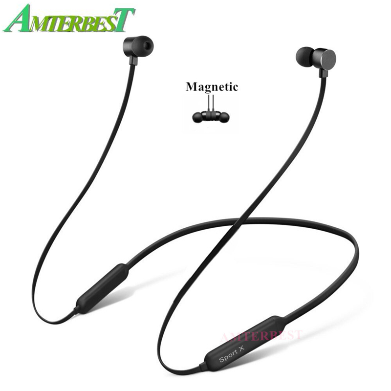 AMTERBEST Neckband 3D Stereo Bluetooth Earphone Sports Wireless Headphones Magnetic Bluetooth Headset for SAMSUNG iPhone Android-in Bluetooth Earphones & Headphones from Consumer Electronics on AliExpress