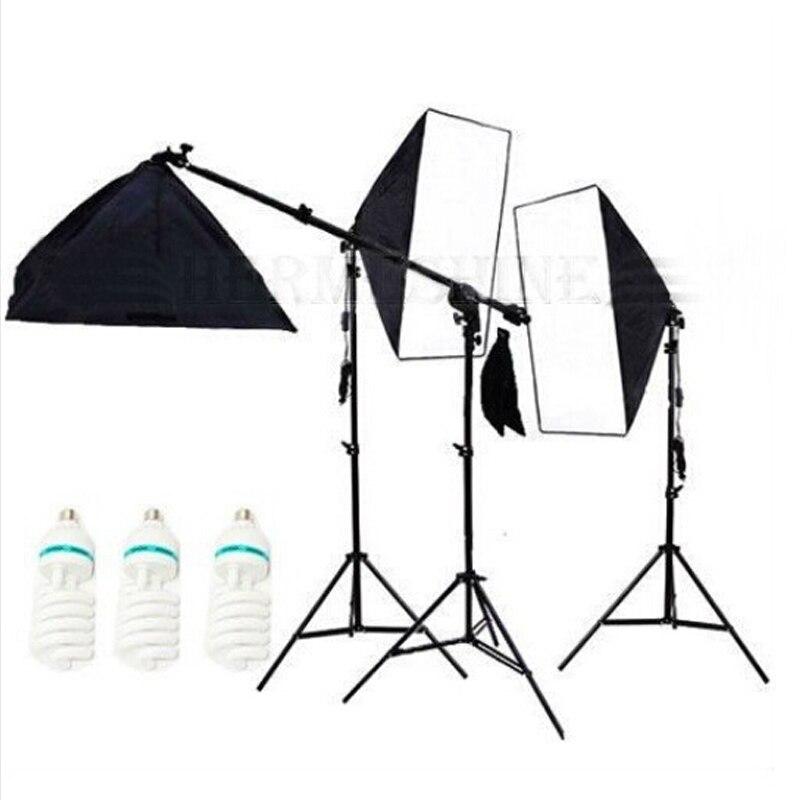 Photo Studio Diffuser Light 50*70cm Softbox 3Pcs Photography Continuous Lighting Box 150w Bulbs Boom Arm Photo Studio Kit