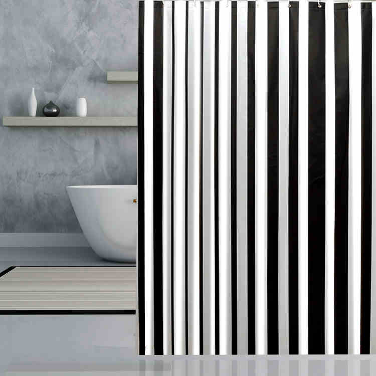 Brand New PEVA Bathroom Curtain Luxury White and Black Stripe Mould-Resistant Waterproof Bath Shower Curtain several multi size