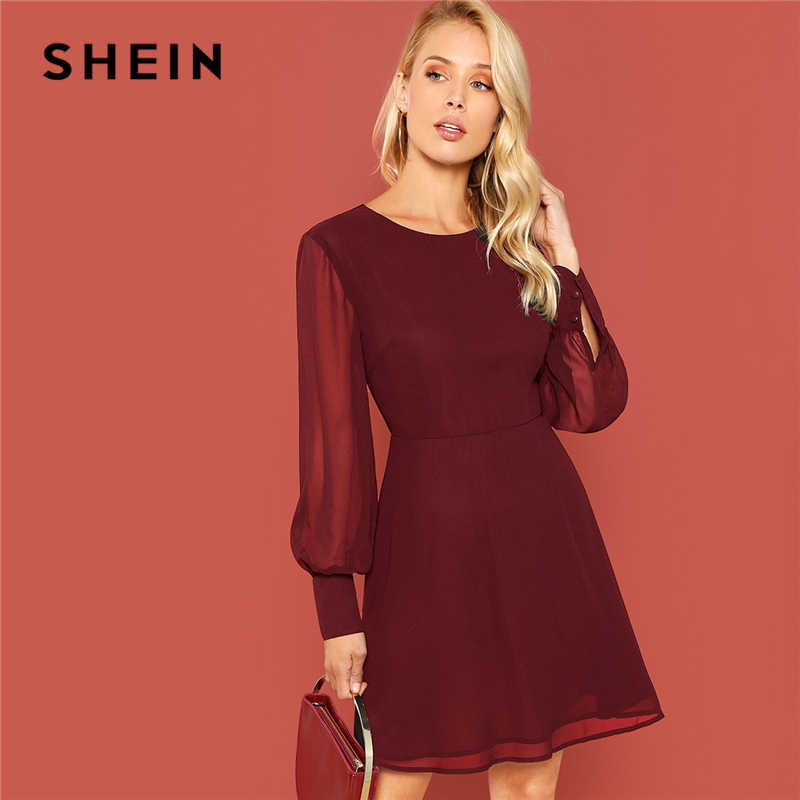 SHEIN Burgundy Sheer Bishop Sleeve Fit   Flare Dress Elegant Office Lady Solid  Dress 2018 Autumn 26f4e58b6c83