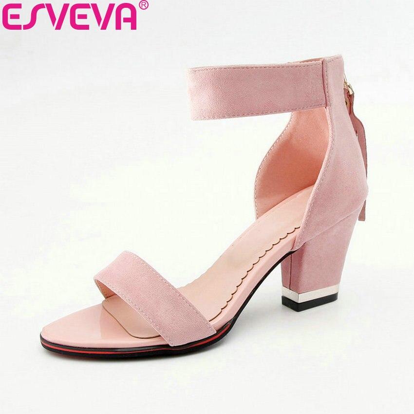 ESVEVA 2018 Sweet Style Zippers Women Pumps High Heels Shoes Round Toe Square Heels Summer Women Pumps Shoes Size 34-43 basic pump