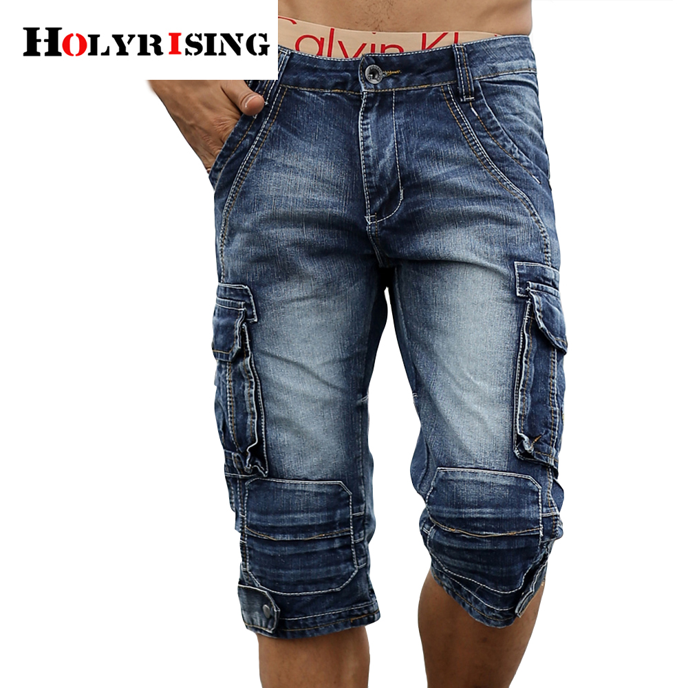 Holyrising Men Cargo Shorts Bermuda Male Washed Denim Short Jeans Shorts Homme