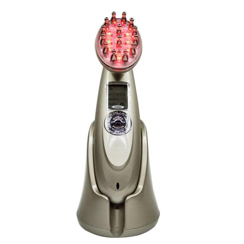 Écran LCD RF EMS Stimulation de collagène infrarouge Machine de traitement de perte de cheveux vibrant brosse de peigne masseur de croissance de cheveux - 3