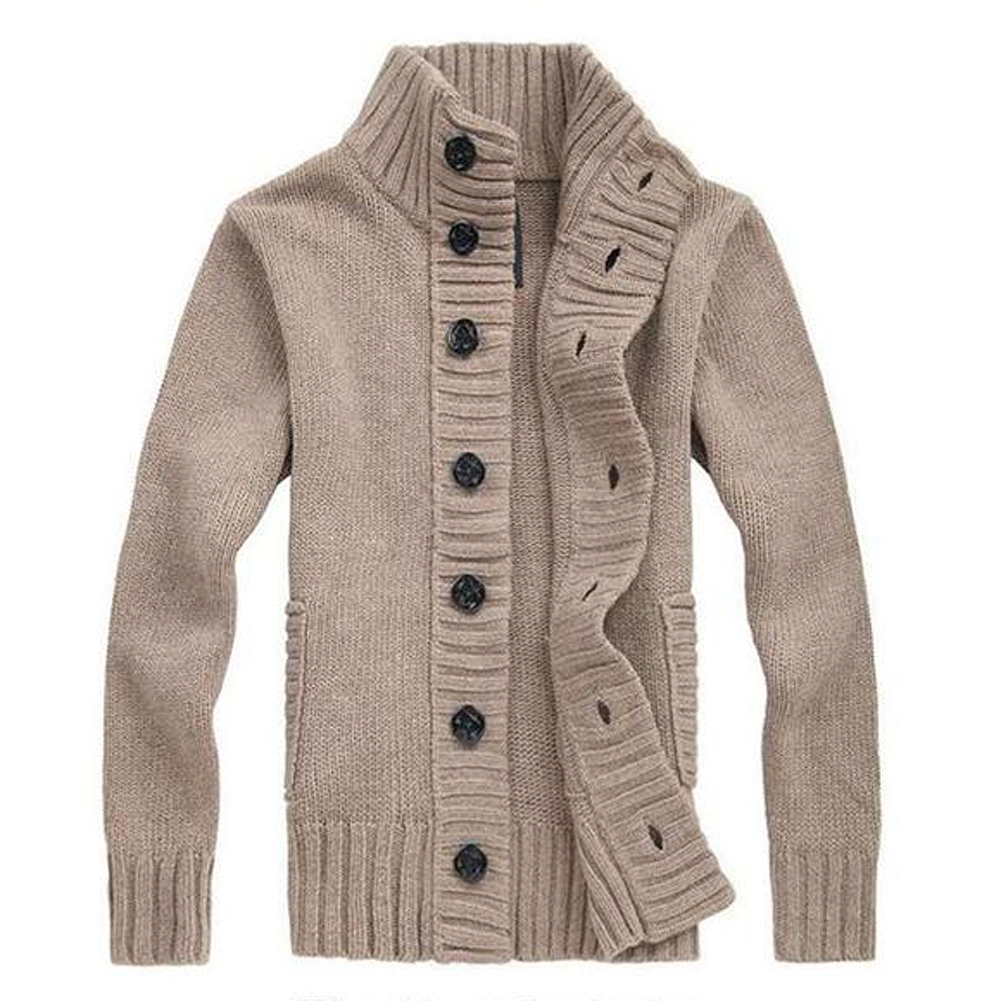 MYPF-Men's knit cardigan sweater thick sweater coat Korean Slim line casual jacket