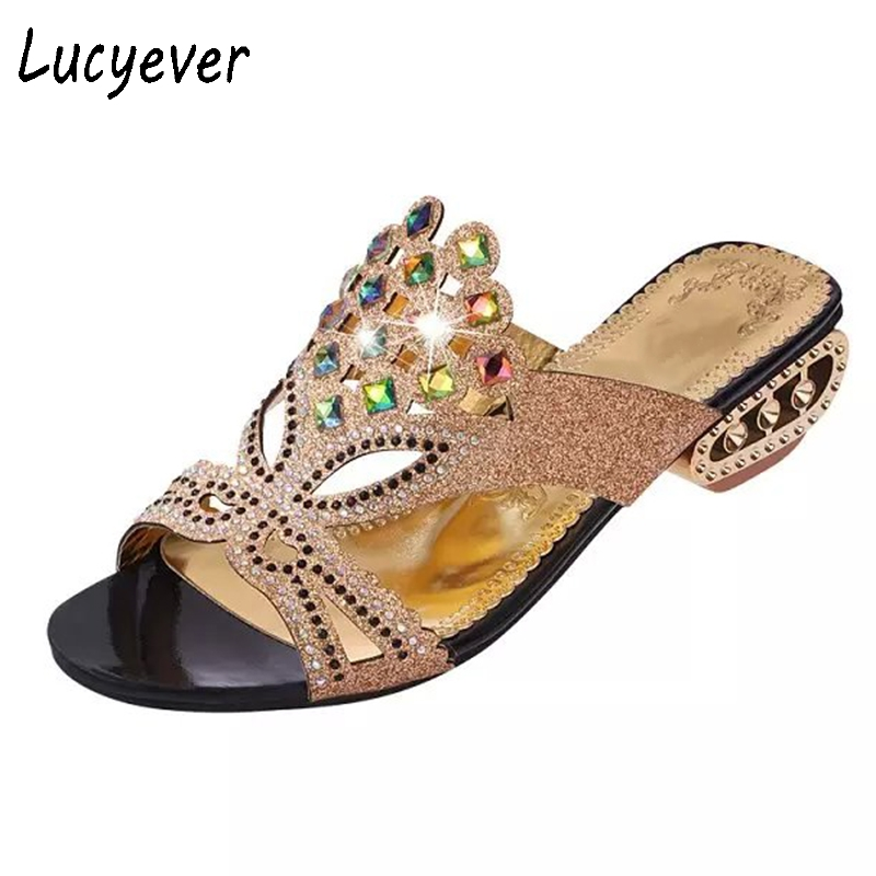 Lucyever Summer Open Toe Chunky Heels Women Sandals PU Leather Rhinestones Party Shoes Fashion Crystals Casual Beach Flip Flops mudibear women sandals pu leather flat sandals low wedges summer shoes women open toe platform sandals women casual shoes