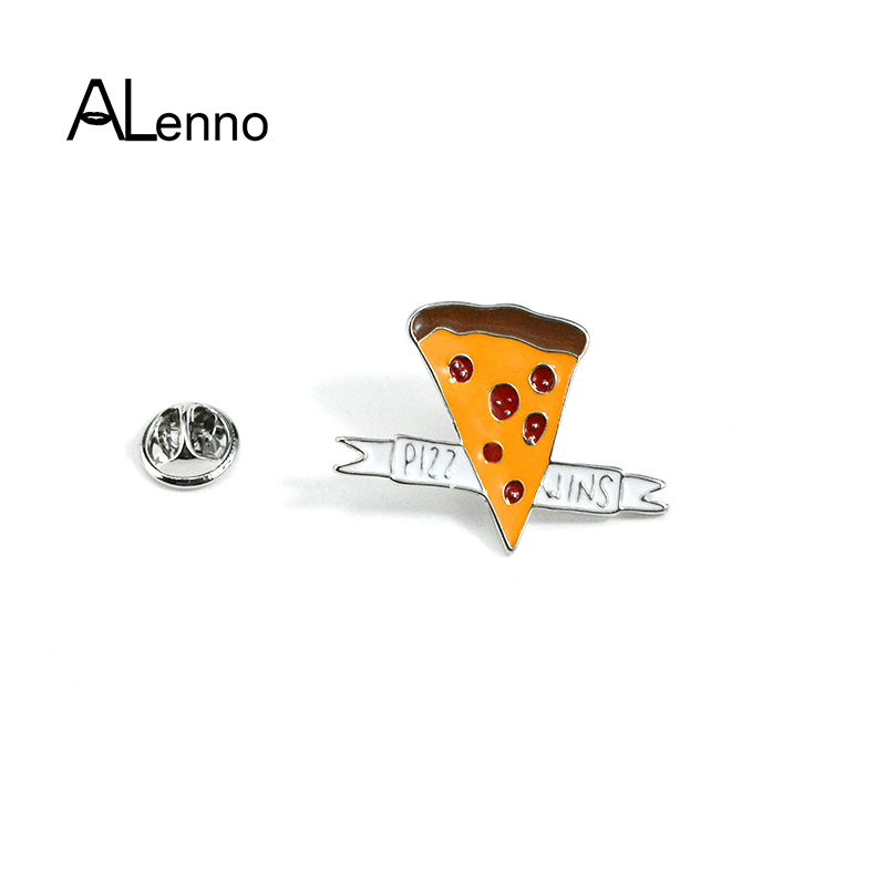3pcs/set Free Shipping Cute Enamel Flower Cactus Pizza Metal Safety Pins ALenno Badges On Backpack Clip For Scarf Child Gifts