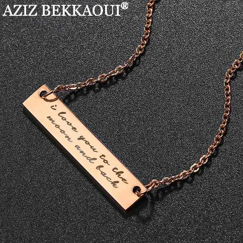 Aziz Bekkaoui Chữ I LOVE YOU Đến Mặt Trăng Và Lưng Dây Chuyền Khắc Tên Vòng Cổ Trang Sức Nữ Phụ Kiện Dropshipping