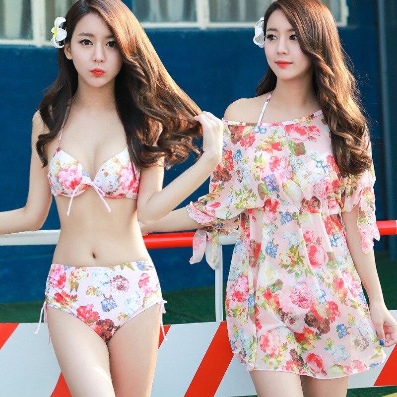 ФОТО STAR MENG Korean hot swimsuit three piece lady couple thin steel support gather bikinis beach Swimsuit Size blouse