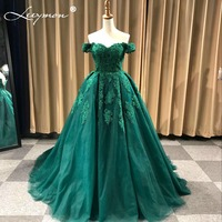 Luxury A Line Off The Shoulder Sleeveless Beaded Lace Tulle Appliques Evening Dresses 2017 Long Formal