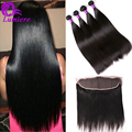 7A Straight Brazilian Hair 4Bundles Human Hair With Lace Frontal Closure Mink Brazilian Virgin Hair Straight With 13*4 Closure