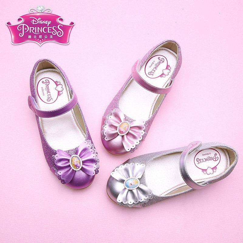 Disney Fashion 2018 Girls Shoes Spring Princess Shoes High Heel Childrens Shoes Big Children Bow DF0476