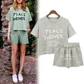 Vancol Summer Short Sleeve Tops Letter Printed Thin Short Pants Two Piece Set Peace Forever Plus Size 2XL Short Suit Women