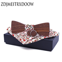 ZDJMEITRXDOOW Classic Wood Bowtie+Handkerchief+Cufflinks Sets for Mens Suit Wooden Bow Tie Printing Bowknots Wedding Party Ties
