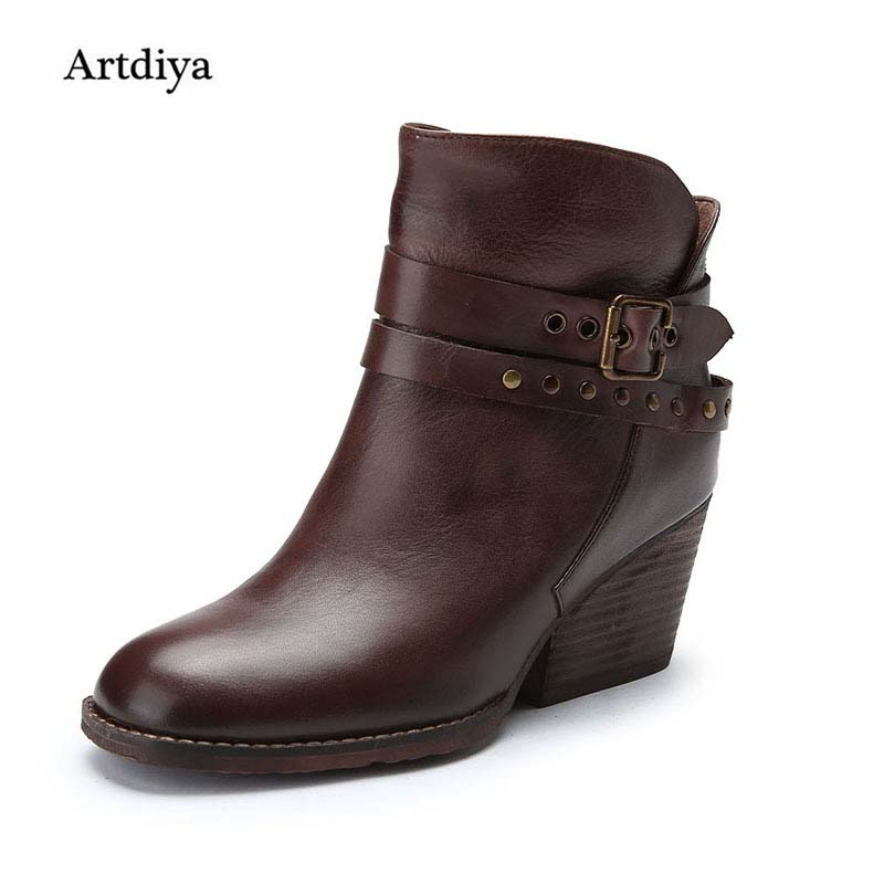 Artdiya Original Classic New High Heels Women Boots Genuine Leather Handmade Ankle Boots Fashion Buckle Martin Boots A16-1 цены онлайн