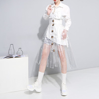 Lolita Women Free Shipping 2019 Spring And Summer Transparent Crystal Glue Pvc Plastic Wind High Waist Single Breasted Skirt