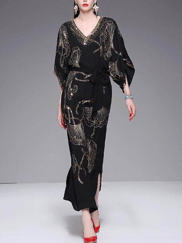 Chaude Mi Z124 Femmes Couleur Neck Lâche Maxi Manches Chauve Noir souris Robes Unie Robe Taille Black Bohème Long Vente Style Conception V fgbyY67