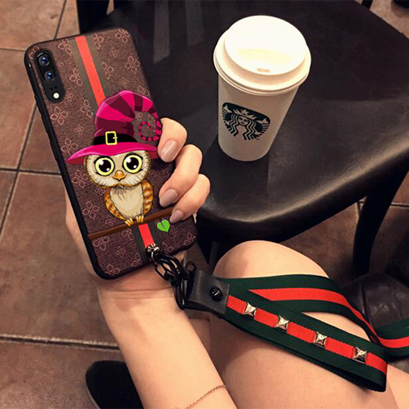 FOR Huawei P20 pro Cartoon Phone Case With Phone Strap High Quality Soft TPU Printed Phone Cover For Huawei P20 pro