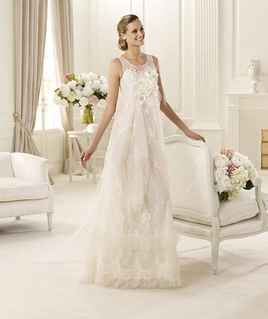 2017 Romantic Vestido De Noiva High Waist Vintage Lace