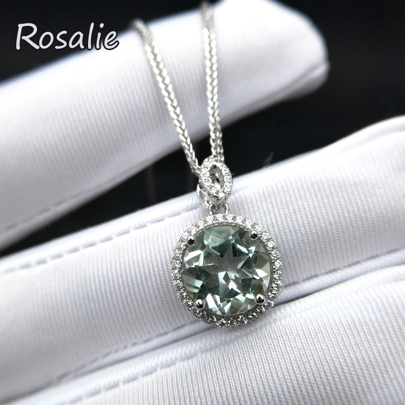 Rosalie,Waterdrop 3.4ct natural green amethyst gemstone pendant necklace 925 sterling silver fashion design for women best gift цена