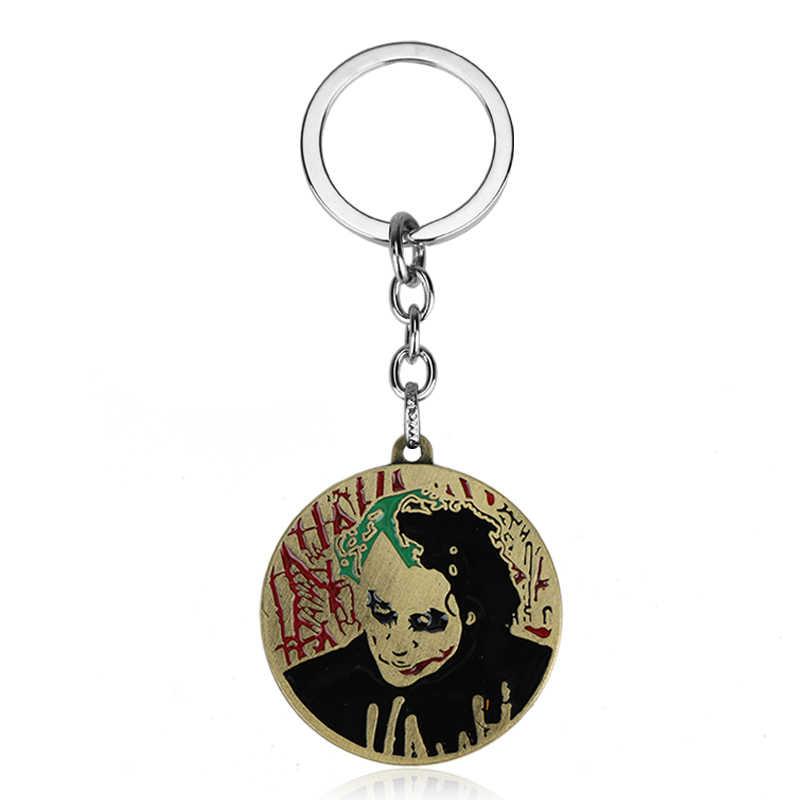 Mqchun dc comic dark knight batman chaveiro chaveiro supervilão joker horror rosto logotipo pingente chaveiro anel quente filme jóias