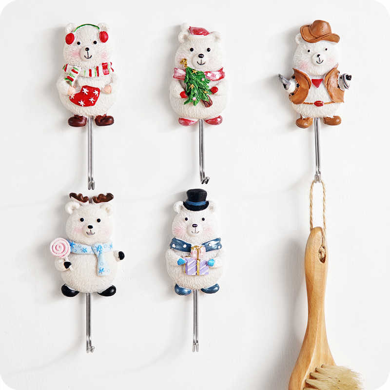 Carton Silicone Wall Hooks Cute Bear Home Door Hook Hanger For Bathroom Towel Hanger Clothes Key Sundries Hook