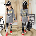 2017 Cartoon Children's Clothing Set Fashion White Wolf O-neck T-shirt Stripe Pants 2 pcs Cute T-shirt Clothing Set for Girl