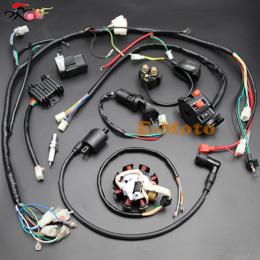 hight resolution of complete electrics atv quad 150cc 200cc 250cc 300cc solenoid cdi coil regulator wiring harness zongshen lifan