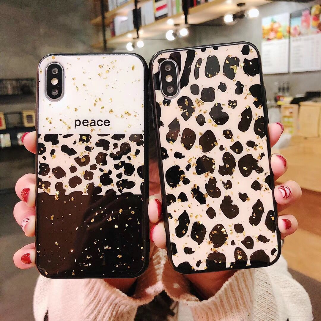 For iPhone Xs max Gold foil leopard case for iphone Xs X 8plus 7 6 6S plus 8 bling soft phone case for iphone 8 plus