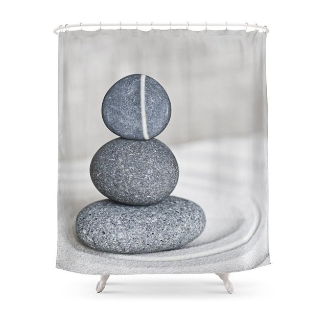Zen Cairn Pebble Stone Balance Grey Shower Curtain Set Waterproof Fabric Bath For Bathroom With Non Slip Floor Mat