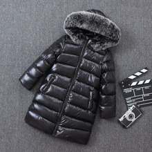 Children Winter Long Down Jacket Thickening Warm Big Nature Fur Clothes Boys Girls Hoodie Outwear Winter Jackets Coats Snowsuit