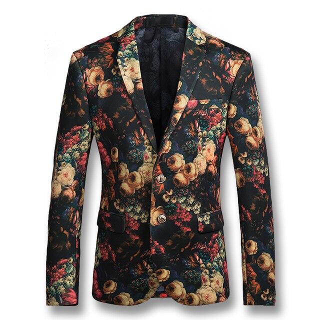 2016 Hombres Blazers Florales Chaquetas Trajes Abrigos de Solapa Con Muescas Blazers Veste De Ocio y Ocasionales de Los Hombres de Moda Slim Fit Herren Anzug hombres