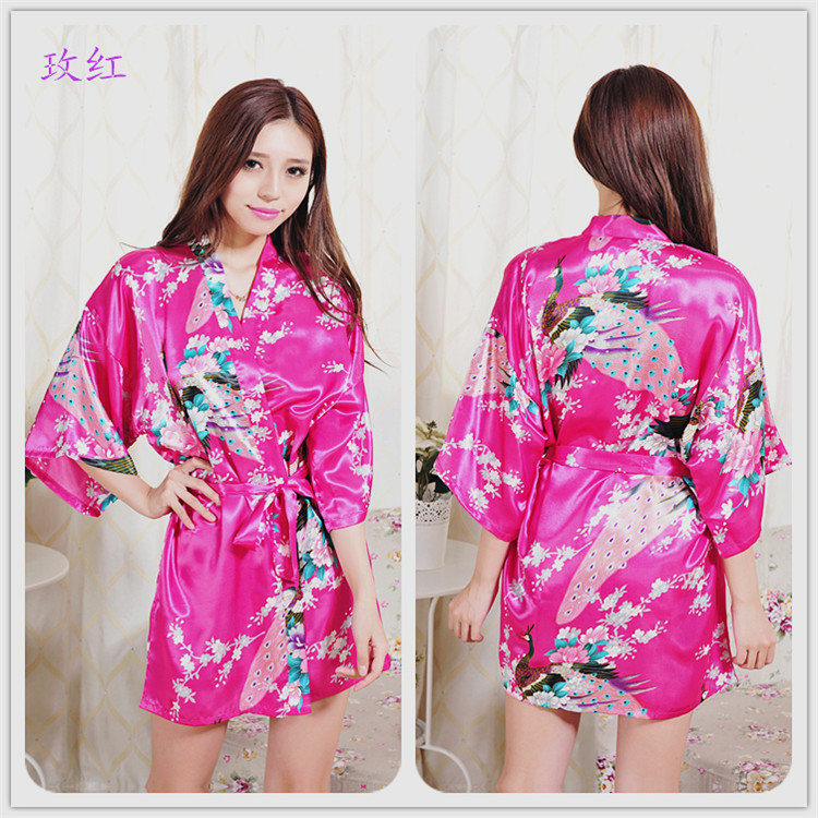 Robe Long Black Robe Wholesale Female Nightgown Pajamas Yellow White Satin  Night Robe Silk(China