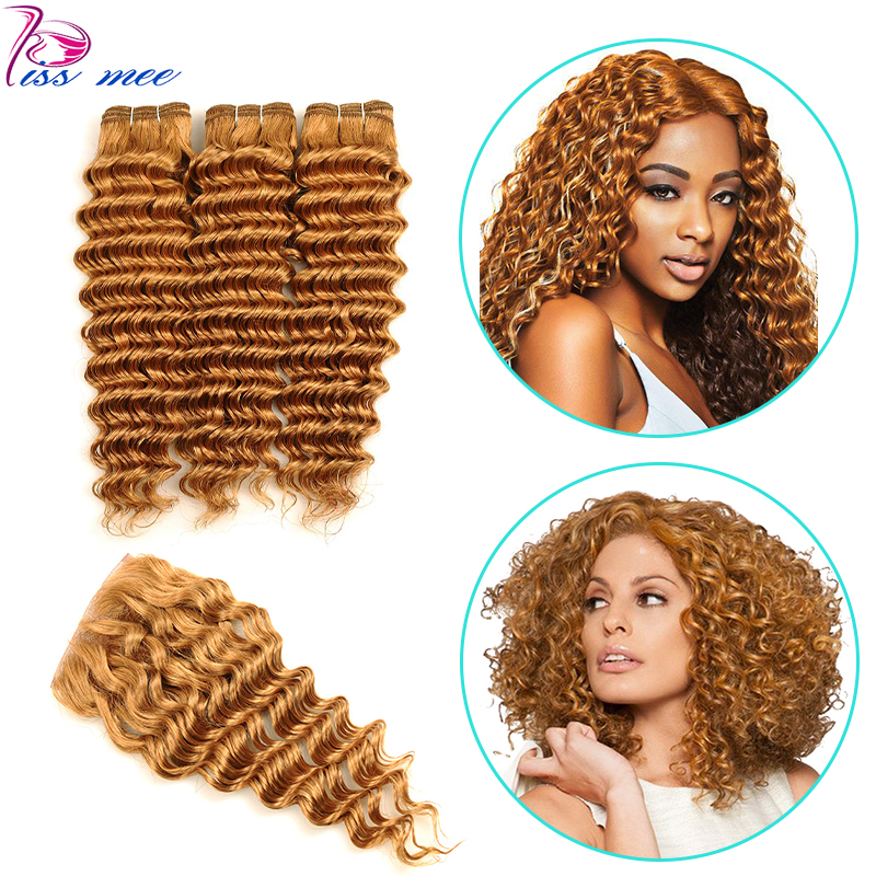 Kiss Mee Deep Wave Bundles With Closure Blonde Braziian Hair With Closure Color 27 Remy Human Hair Weave 3 Bundles With Closure