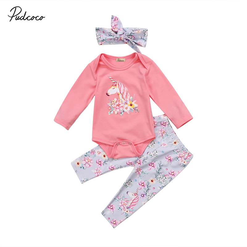 Pudcoco Brand Newborn Baby Unicorn Clothes Infant Kids Girls Cotton Romper Tops Floral Pant Legging Hat 3PCS Kids Clothing Set pudcoco newborn infant baby girls clothes short sleeve floral romper headband summer cute cotton one piece clothes