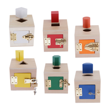 Wooden Montessori Materials Lock Exercises for Preschool Early Learning Toy, for Kids Toddlers Early Development