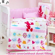 09fa41db7 6 7PCS Baby Bedding Set Crib Bedding Set for Girls Detachable Cot Quilt