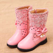 2019 Autumn Winter Girls Boots Children Rubber Platform Shoes Mid-Calf Snow boots for girl with Butterfly-knot Princess