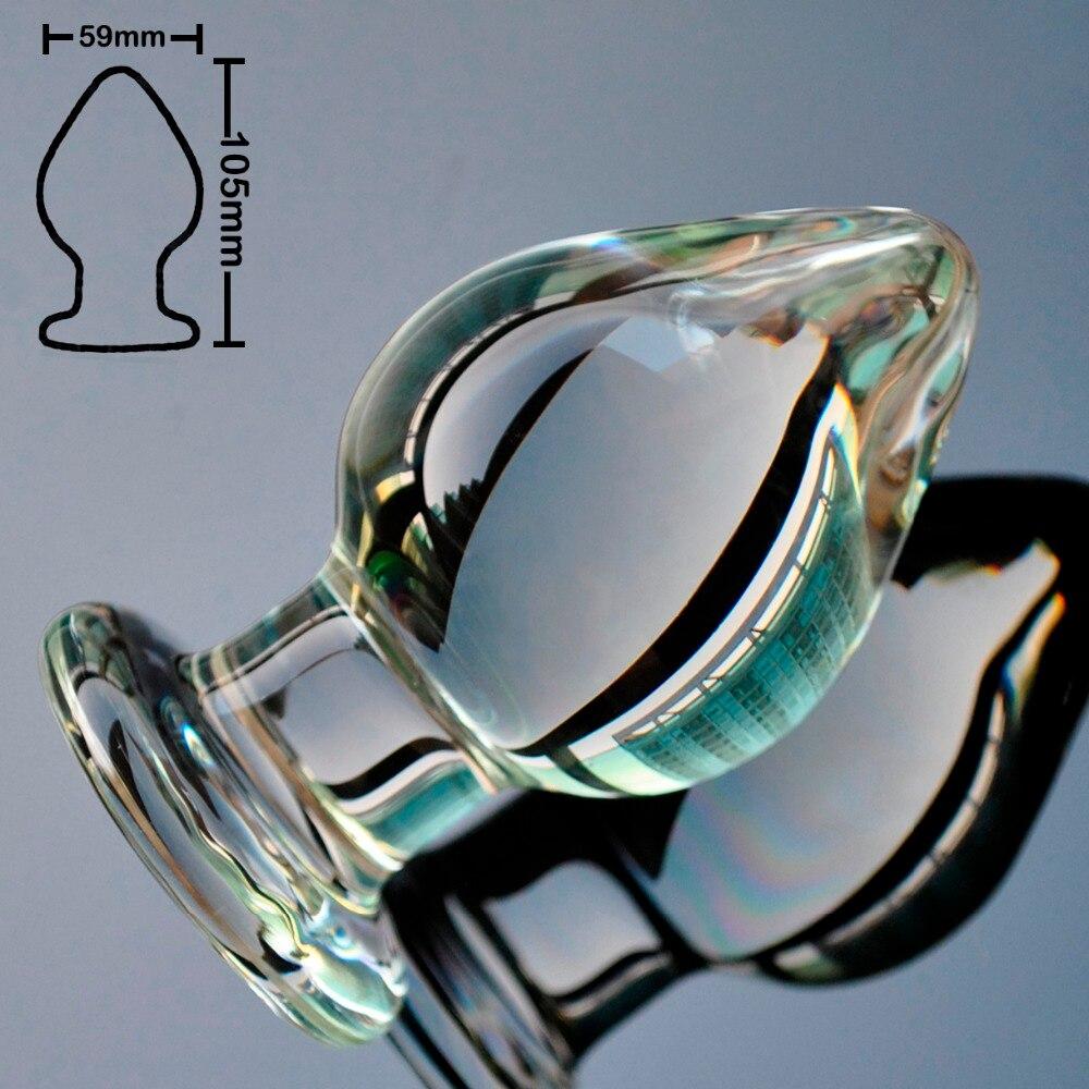 59mm vetro pyrex anale dildo big cristallo del branello della sfera di grandi dimensioni butt plug pene falso giocattoli Del Sesso per le donne degli uomini gay femminile masturbazione