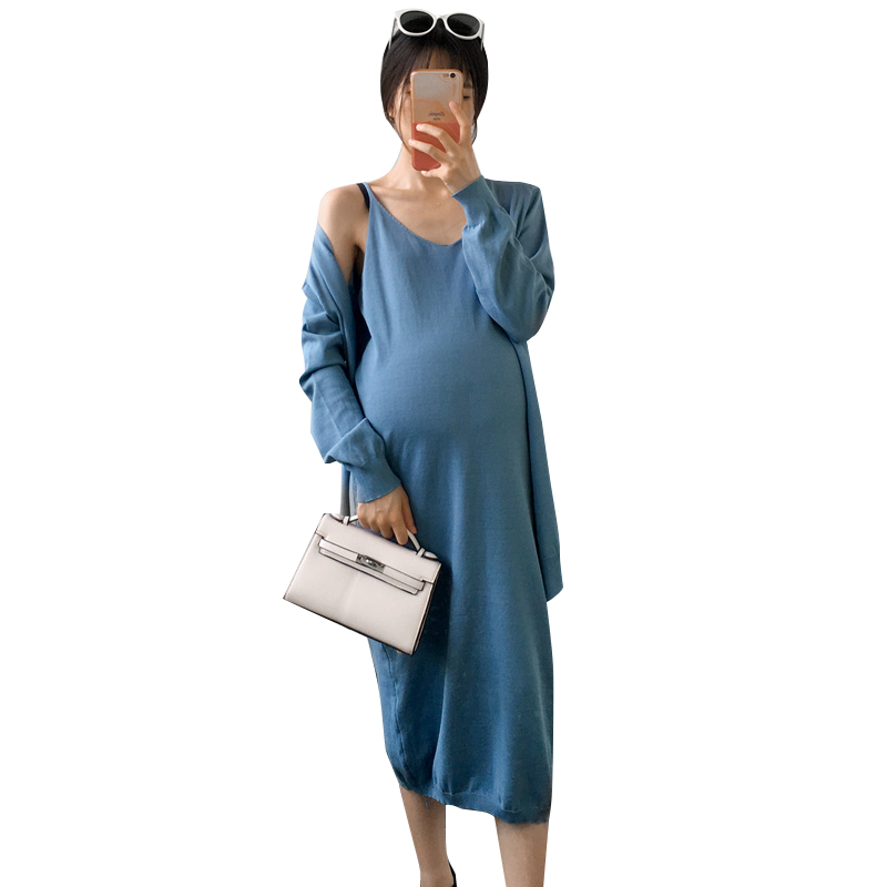 2018 fashion pregnant women autumn suit V-neck sling dress coat suit knit long-sleeved sunscreen cardigan two-piece set fashion women s autumn winter v neck long sleeved cotton waist dress black size l