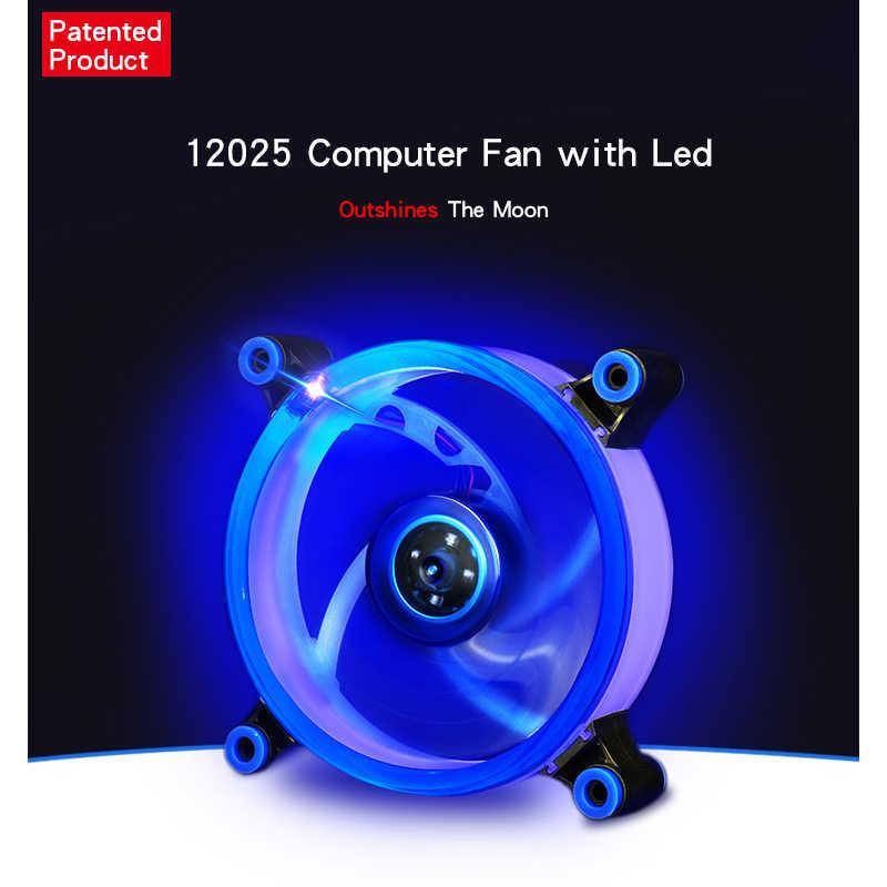 120 مللي متر وحدة معالجة خارجية للحاسوب التبريد مروحة 3pin/4pin LED حلقة مروحة كاتمة للصوت مروحة مشعاع الأزرق + الأبيض