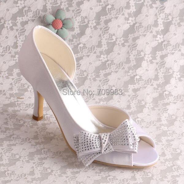 1fcc9ab3c9d Magic Bride Satin Side Bow Pumps Heels White Peep Toe Wedding Shoes Size 7  Dropshipping