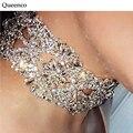 Queenco 2016 Chunky Crystal Flower Statement Necklace Unique Starburst Pendant Rhinestone Luxury Instagram Maxi Choker Necklace